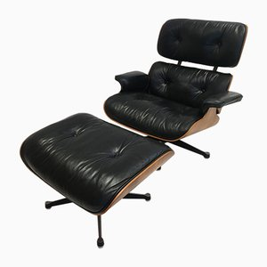 Rosewood Lounge Chair and Ottoman Set by Charles & Ray Eames for Herman Miller, 1970s, Set of 2