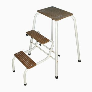 Mid-Century Metal and Wood Stepladder Stool, 1960s