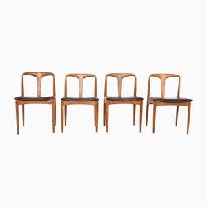 Chaises de Salon en Palissandre & Cuir par Johannes Andersen pour Uldum Møbelfabrik, Danemark, 1960s, Set de 4