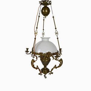 Large Antique French Chandelier in Bronze and Brass