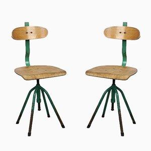 Chaises Pivotantes Vertes Vintage Industrielles Vertes, 1960s, Set de 2