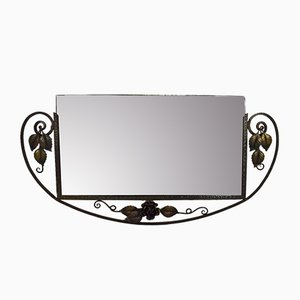 Art Deco Wrought Iron Mirror with Flowers, 1930s