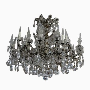 19th Century Italian Neoclassical Giltwood and Crystal Chandelier