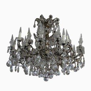 Italienischer neoklassizistischer Kronleuchter aus Vergoldetem und Kristallglas, 19. Jh