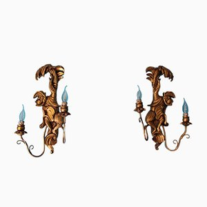 Vintage Wood Sconces Featuring Monkeys, Set of 2