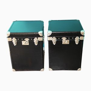 Black Leather Steamer Trunks, 1980s, Set of 2