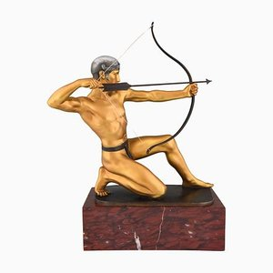 Antique Bronze Male Nude Archer Sculpture by Rudolf Kaesbach for Kaesbach