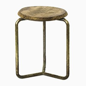 Brass and Wooden Stool, 1950s