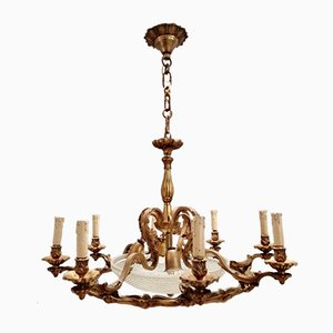 Large Art Deco Bronze 12-Light Chandelier, 1940s