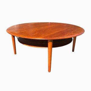 Table Basse Modèle 515 en Teck et Osier par Peter Hvidt & Orla Mølgaard-Nielsen pour France & Søn / France & Daverkosen, 1960s