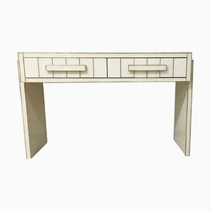 White Glass & Mirrored Writing Desk with Brass and Two Drawers by Zenza Art & Deco