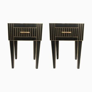 Tables de Chevet Nightstand en Cristal & Laiton par Zenza, Set de 2