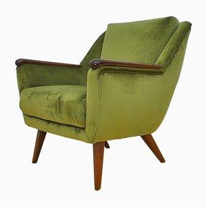 Mid-Century Green Velvet Armchair, 1960s