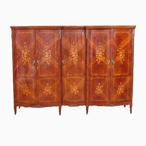 Large Vintage Louis XV Mahogany Veneer with Inlay and Brass Wardrobe