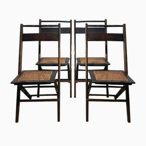 Chaises Pliantes Mid-Century en Noyer et en Paille, États-Unis, 1950s, Set de 4