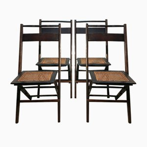 Mid-Century American Walnut and Straw Folding Chairs, 1950s, Set of 4