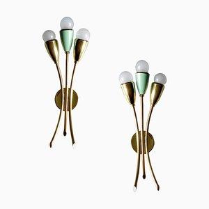 Appliques en Laiton en Forme de Ventilateur Vertes Style Stilnovo, Italie, 1950s, Set de 2