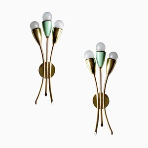 Italian Brass Green Fan-Shaped Sconces in the Style of Stilnovo, 1950s, Set of 2