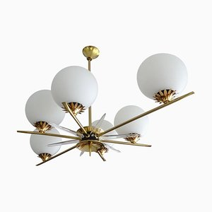 Large Mid-Century French Brass and Glass Pendant Lamp in the Style of Stilnovo, 1960s