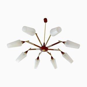 Large Danish Modern Teak and Glass Sputnik Pendant Lamp, 1960s