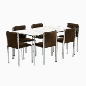 Italian Modern Onyx Inlaid Dining Table & Chairs Set, Set of 7
