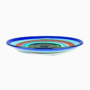 Multicolored Murano Glass Plate by Berit Johansson for Salviati, 1991