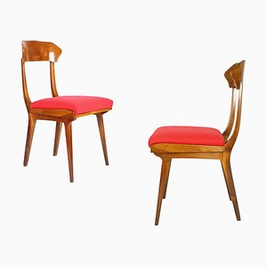 Mid-Century Wood and Red Fabric Side Chairs from Fratelli Barni Mobili d'Arte, 1950s, Set of 2