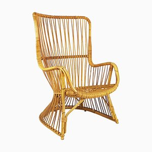 Mid-Century Italian Rattan and Rush Armchair, 1960s