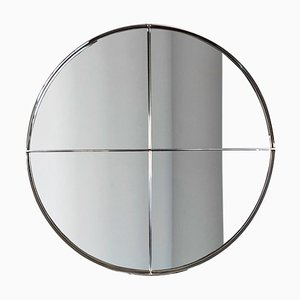 Large Round Steel Wall Mirror by Vittorio Introini for Saporiti Italia, 1970s