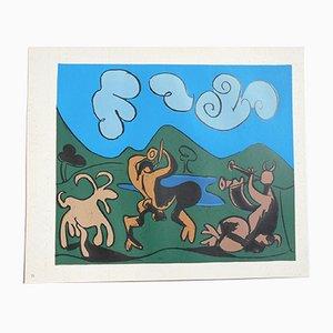 Zwei Satyrn und Ziegen Linolschnitt von Pablo Picasso, 1962