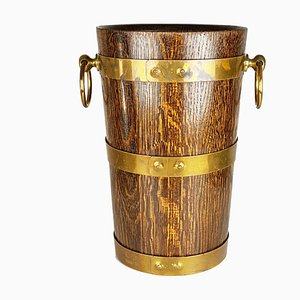 French Oak, Aluminum, and Brass Ice Bucket from Geraud Lafitte Ouvrier, 1950s