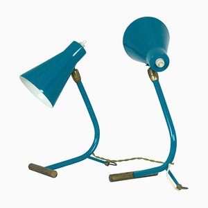 Mid-Century Italian Teal Green and Brass Table Lamps Attributed to Stilnovo, 1950s, Set of 2