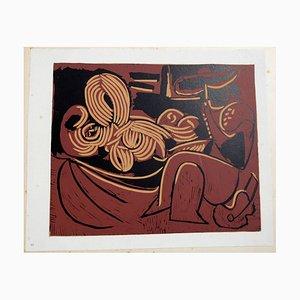 Lehnende Frau und Picador mit Gitarre Linolschnitt von Pablo Picasso, 1962