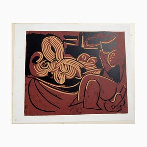 Reclining Woman and Picador with Guitar Linocut by Pablo Picasso, 1962