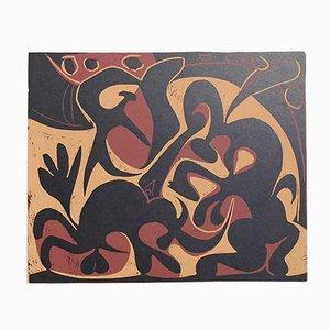 Picador Goading Stier mit Matador Linolschnitt von Pablo Picasso, 1962