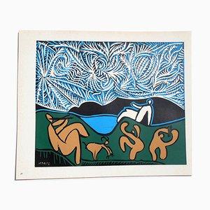 Bacchanal mit Ziege Linolschnitt von Pablo Picasso, 1962
