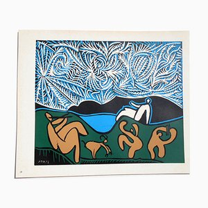 Bacchanal with Goat Linocut by Pablo Picasso,1962