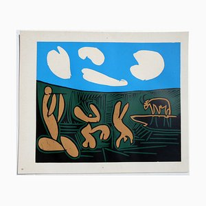 Bacchanal with Four Clouds Linocut by Pablo Picasso, 1962