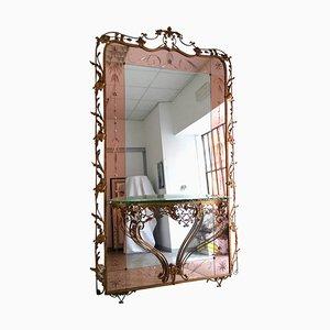 Specchio Mid-Century con consolle, anni '50