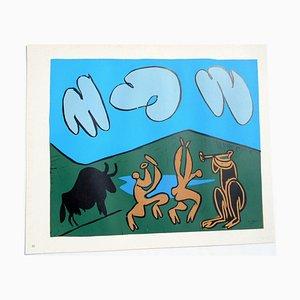 Bacchanal mit Schwarzem Stier Linolschnitt von Pablo Picasso, 1962