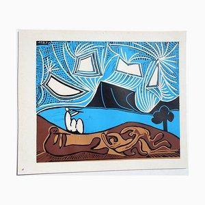 Bacchanal mit Liebespaar Linolschnitt von Pablo Picasso, 1962