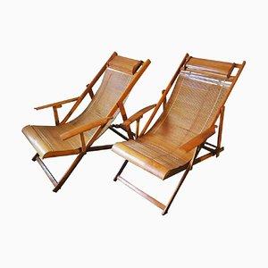 Japanische Vintage Bambus Liegestühle, 2er Set
