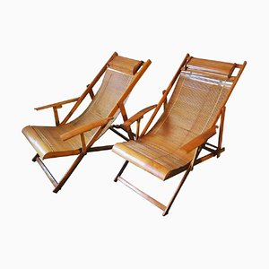 Vintage Japanese Bamboo Deck Chairs, Set of 2