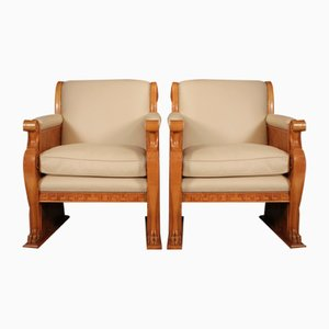 Art Deco French Walnut and Leather Armchairs, 1930s, Set of 2