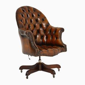 Vintage Georgian Style Leather Swivel Desk Chair, 1950s
