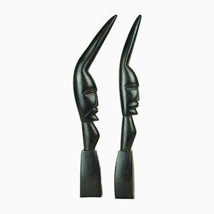 Afrikanische Ebenholz Figuren, 1960er, 2er Set