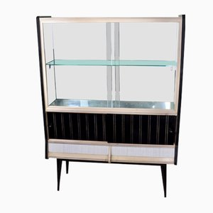 White Formica and Black Display Cabinet, 1960s