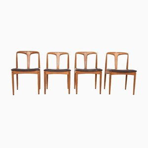 Chaises de Salon en Palissandre et Cuir par Johannes Andersen pour Uldum Møbelfabrik, Danemark, 1960s, Set de 4
