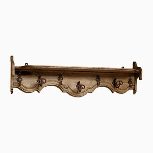 Rustic Light Oak Wall Shelf, 1920s