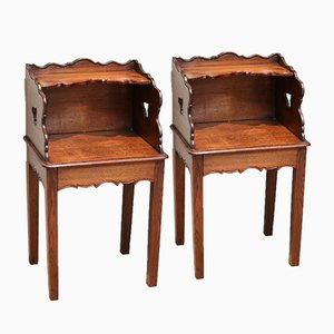French Oak Nightstands, 1920s, Set of 2